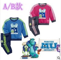 2014 fall Suit Monsters University cartoon boy's clothing set girl long sleeve jersey + pants two-piece set wholesale