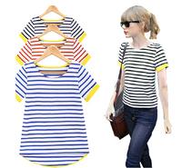 Women's navy style stripe three-dimensional fine line turn-down collar t-shirt