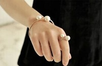 New fashion jewelry double pearl adjustable cuff bangle  gift for women ladies' girl B3073