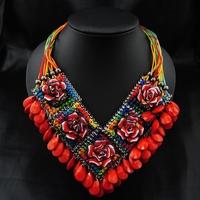 Wholesale Fashion Women Vintage Collar Europe Perfume Women Unique item Red Flower Pendant choker Bib Statement Necklace