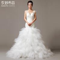 2014 new wedding dress Sexy Lace Strapless Princess with trailing  Fashionable  wedding dress 2014