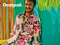 Spain desigual men's cotton men's summer casual long-sleeved floral shirt with large yards 21c1262