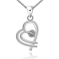 fashion jewelry chains necklace 925 silver pendant heart wedding accessories bride jewelry set cheap