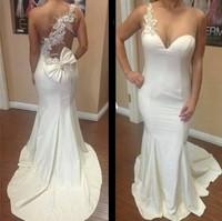 E3345 Sexy one shoulder pearl beaded white mermaid prom dress