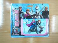 2014 Real New Arrival Glass Free Shipping 20pcs Frozen Watch Set Cartoon Wristwatch Purses(watch +wallet) Blister Packing Fast