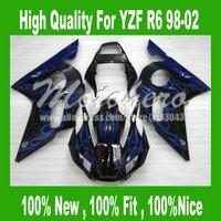 Pre_drilledYZF-R6 Fairing for Yamaha YZF R6 1998-2002 YZF-R6 98-02 YZFR6 98 99 00 01 02 Fairings kit #bb721 blue flame black