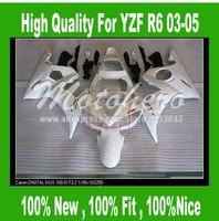 Pre_drilledYZF R6 fairing for Yamaha YZF R6 2003 2004 2005 #LL0O0P YZF-R6 YZFR6 03 04 05 motorcycle fairing parts white Body