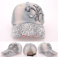 2014 Korean Retail Diamond Point FLOWER Anchors denim caps women baseball cap LADY Hat rhinestone print