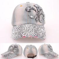 2014 Korean Retail Diamond Point FLOWER Anchors denim caps women baseball cap LADY Hat rhinestone print