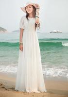 2014 Summer Maxi Chiffon Bohemian Beach Long Dress Women's Fashion Solid Color O-neck Short Sleeve Elegant Dresses Plus Size
