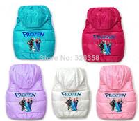 2014 Coletes Infantis Retail 1 Pc Kids Frozen Winter Vest/elsa&anna Thicken Waistcoats/baby Girls Candy Color Sleeveless Outwear