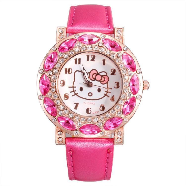 Hello kitty design crystal rhinestone leather watches women quartz analog wristwatch for ladies clocks best gift free shipping(China (Mainland))