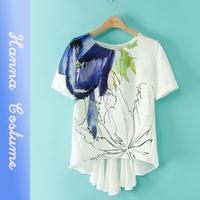 New arrival 2014 summer printed chiffon t shirt fashion women tshirt top short sleeve woman dovetail t-shirt