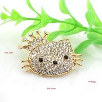 P297-022 60pc/lot free shipping cute crystal rhinestone gold cat brooch pin
