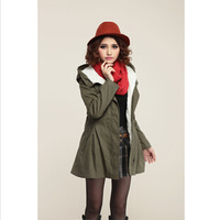 The 2014 Fashion New Women Slim Winter Coat, Lady Padded Coat with Belt,Hood and Faux Fur Inside for Warm Jackets