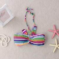 New Women Halter-neck Striped Bikini Swimsuit Swimwear Summer Rainbow Underwear Beachwear