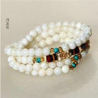 6 mm round natural white jade stone Tridacna 108 Buddhist rosary beads gift Agate Crystal Bracelet