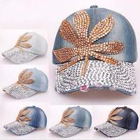 2014 new Fashion Summer Diamond Point Esserteauiana Maple Leaf denim caps women baseball caps Girls Hat rhinestone print