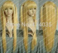 """35""""COS Harajuku Kanekalon Hair Wig Cosplay Amane Misa Long Warm Blonde full human no Lace Front Kanekalon Wigs free shipping"""