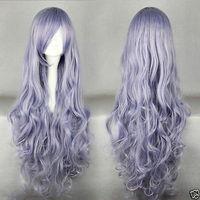 "32"" COS Kanekalon Fiber Rozen Maiden Wavy Light Purple Cosplay Costume Hair human no Lace Front Kanekalon Wigs free shipping"
