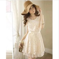 Free Shipping 2014 new Promotions hot trendy cozy fashion women clothes  Retro code Slim lace vest dress F701