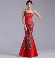 Hot!!! Red one shoulder evening dress fish tail slim hip formal wear
