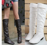 2014 new fashion Spring and autumn Womens single boots japanned leather flat heel boots,high boots white black brown size:34-39