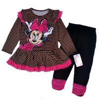 Wholesale Minnie Dress Set for 2014 Fashion Girls Minnie Dress + Leggings Girl Long Pants Children Clothing Set Autumn Set Suits