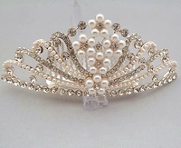 Fashion New Bridal Tiara Crown Crystal Rhinestone Alloy Wedding Accessories Bridal woman Pearl Crown Hair Accessories