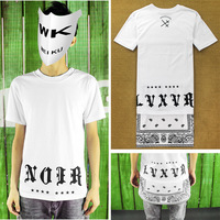 Cease desist hba New Extended Paisley Bandana Print Graphic WOMAN AND MAN Tee T-Shirt Black White