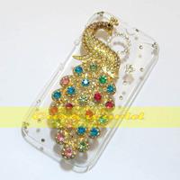 1 Pcs Handmade Bling Peacock Clear Hard back case For Motorola Moto E X1021 Dual Sim XT1022 XT1025