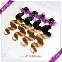 Malaysian virgin hair bundles 3pcs lot Ombre hair extensions black blonde two tone Malaysian body wave human hair weaves