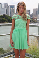 2014 fashion Sexy Lace Patchwork Chiffon Backless Novelty party Dress White/Pink/Green