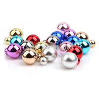 CCB Stud Earrings 2.5*1.6cm 9 Mix Color Ball Shape Earrings for Women