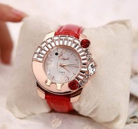 2014 New Fashion Women Girl Boys Leather Bracelet White Horse Trojan watch Women Rhinestone Watches  Woman Wristwatch  ML0478