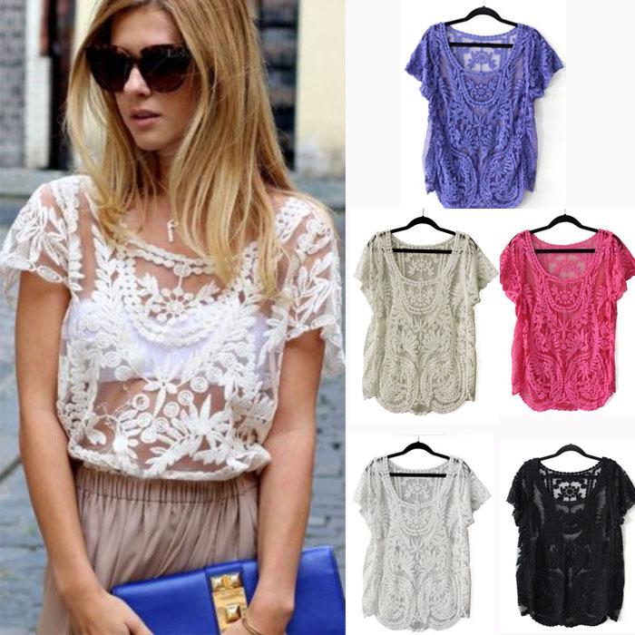 Fashion Womens Floral Semi Sheer Shirt Sleeve T Shirt Lace Crochet Top Blouse Anne