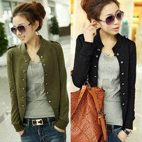 ladies black Coat 2014 Hot Sell New Fashion Women Jacket Epaulet Long Sleeve Stand-up Collar Double Breasted Coat blue cyg 3087