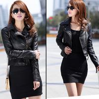 Spring Autumn 2014 Hot Sell New Designers Europe&America Fashion Women Coat Slim Short PU Leather jacket Women black &beige10427