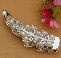 Fashion Exquisite Hair Crystal Rhinestone Pearl Banana barrette clip Claw Comb Free Shipping