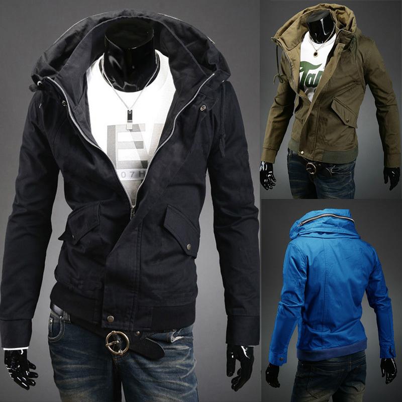New Fashion Man Jackets Two Layer Collar Side Pockets Zipper Causal Silm Men Jackets Autumn&Winter roupas masculinas Coats(China (Mainland))