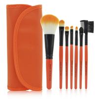 New 7 PCS Makeup Brush Cosmetic Brushes Set With Case - Orange