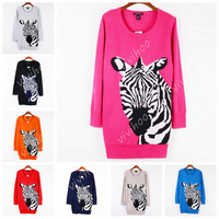 Wholesale 2014 Zebra Animal Print O-Neck Full Sleeve Fashion Wool Knitted Jacket Costume Women Long Loose Casual Cheap Sweater!