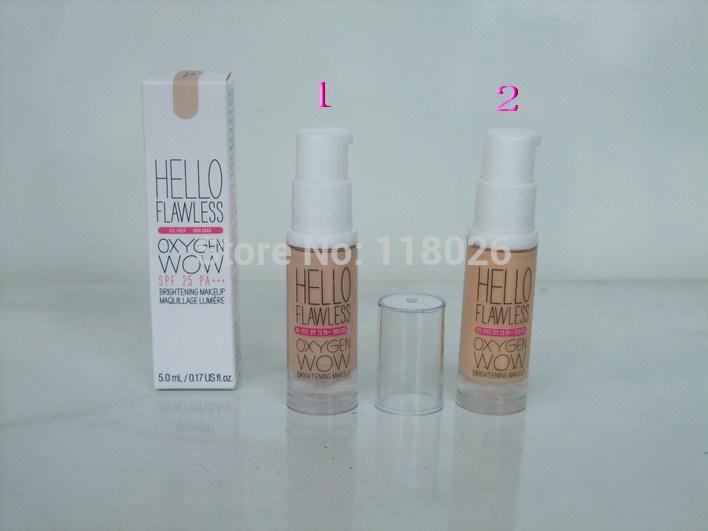 Free Shipping Wholesale 2014 2 PCS/ LOT Brand Makeup 2 Colors Brand Liquid Hello Flawless Oxygen Wow Liquid Foundation(China (Mainland))