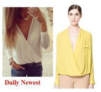 Elina's shop new fashion 2014 saia Women's solid white/yellow za deep v-neck blouse top female s m l CS9107