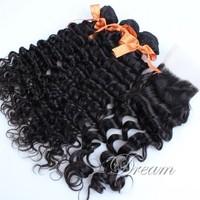 (4*4 ) Free Part Top Lace Closure Peruvian Virgin Deep Wave Hair Weft Good Quality Human Hair Extensions UPS / DHL Free Shipping