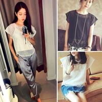 Women Striped Blouse See Through Womens Suit Shorts Shirt Ladies Blouse 2014 Summer Camisa  Femininas Roupas Blusa Sheer Blouses