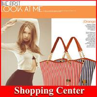 Freeshipping 2014 new Tassel bags women handbags brand shoulder bags Canvas striped sports bags dropshipping
