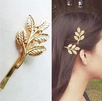 Vintage five  Leaf Design Metal 18K Gold Plating Barrettes Hair Clip hair accessory, wholesale  F-045