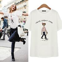 White / Grey Plus Size XXL European Style New 2015 Cartoon Pattern T Shirt Short Sleeve Women Tops Letters Print Camisetas C531