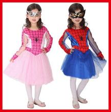 6 jogos / lote Masquerade Party Frete Grátis Vestido Carnaval Halloween Cosplay visto o rosa azul vermelho crianças Meninas Aranha Mulheres Trajes(China (Mainland))